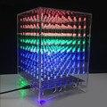 CLAITE 8x8x8 Kit de cubo de luz LED carcasa 3D LED DIY WIFI aplicación electrónica 512 LED acrílico caja de espectro musical