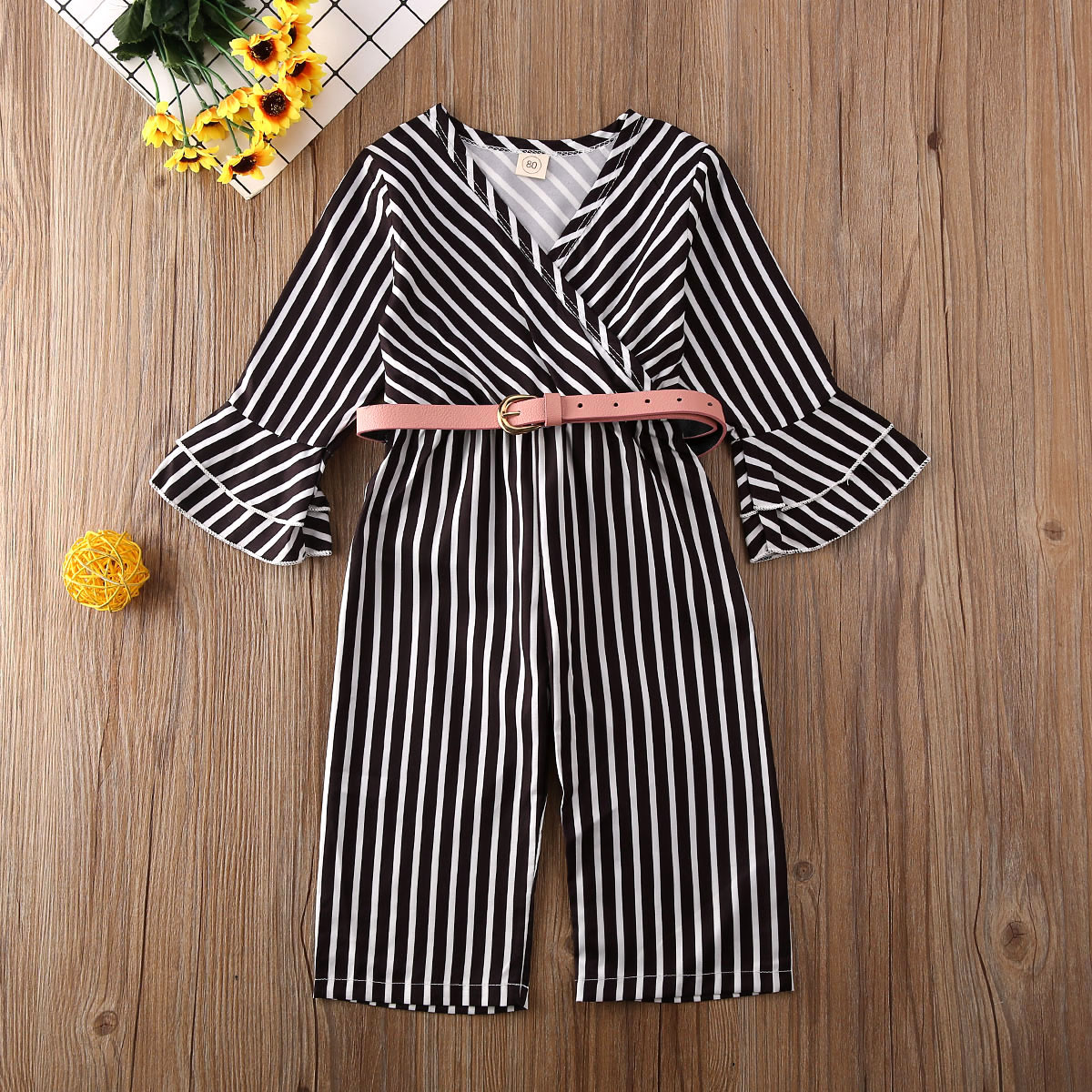Pudcoco Newest Fashion Toddler Baby Girl Clothes Striped Flare Long Sleeve Romper Jumpsuit Belt One-Piece Outfit Cotton Clothes