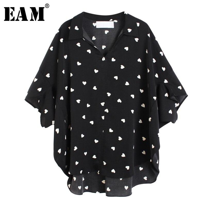 [EAM] Women Black Printed Chiffon Big Size Blouse New Lapel Three-quarter Sleeve Loose Shirt Fashion Spring Summer 2020 1U389