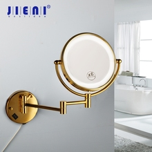 JIENI Golden Plated 3X Magnifying LED Light Beauty Makeup Mirror 8 Inch Bathroom Toilet Cosmetic Mirror Foldable 2 Faces Mirror