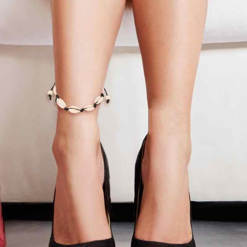 足チェーン女性織りブレスレットゴールドカラー Cowrie シェルブレスレット女性の繊細なロープチェーンブレスレットビーズドロップシッピング