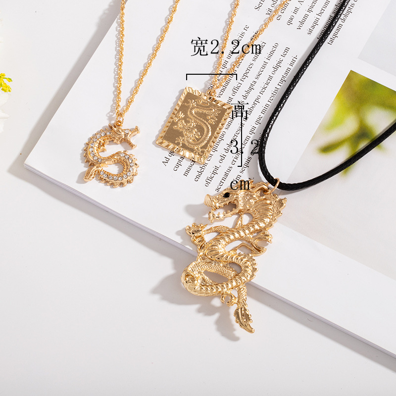 Gold Chain Chinese Dragon Animal Men Pendant Choker Necklace Korean Fashion Black Cord Jewelry Minimalist Minimalism Accessories