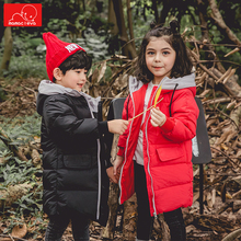 цена на children winter autumn down jackets solid color girls boys winter coats warm kids long overcoat outerwear child clothes