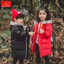 купить children winter autumn down jackets solid color girls boys winter coats warm kids long overcoat outerwear child clothes дешево