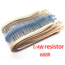 Resistência do resistor 100 w 1/4w 200 do filme do metal dos pces 1% k ohm 0.25w 1/4w