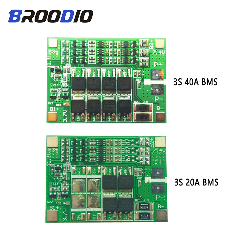3S 40A 20A BMS 11.1V 12V 18650 Lithium Battery Protection Board Charger PCB BMS Li-ion BMS With Balanced For Drill Motor