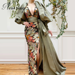 Image 1 - Embroidery Split Silt Party Evening Dresses 2020 New Arrival Couture Dubai Prom Women Dress Vestidos Turkish Kaftans Girl Party