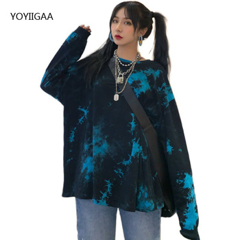 Oversized Long Sleeve Tie Dye T-Shirt Women Tee Shirt Spring Autumn Basic T Shirt Women Casual O-neck Female Tshirt Tops