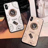 Mode de luxe mignon déesse horloge anneau de doigt strass coque de téléphone pour iPhone6 6 S/7/8 Plus X XS XR XS MAX 11Pro coque de téléphone