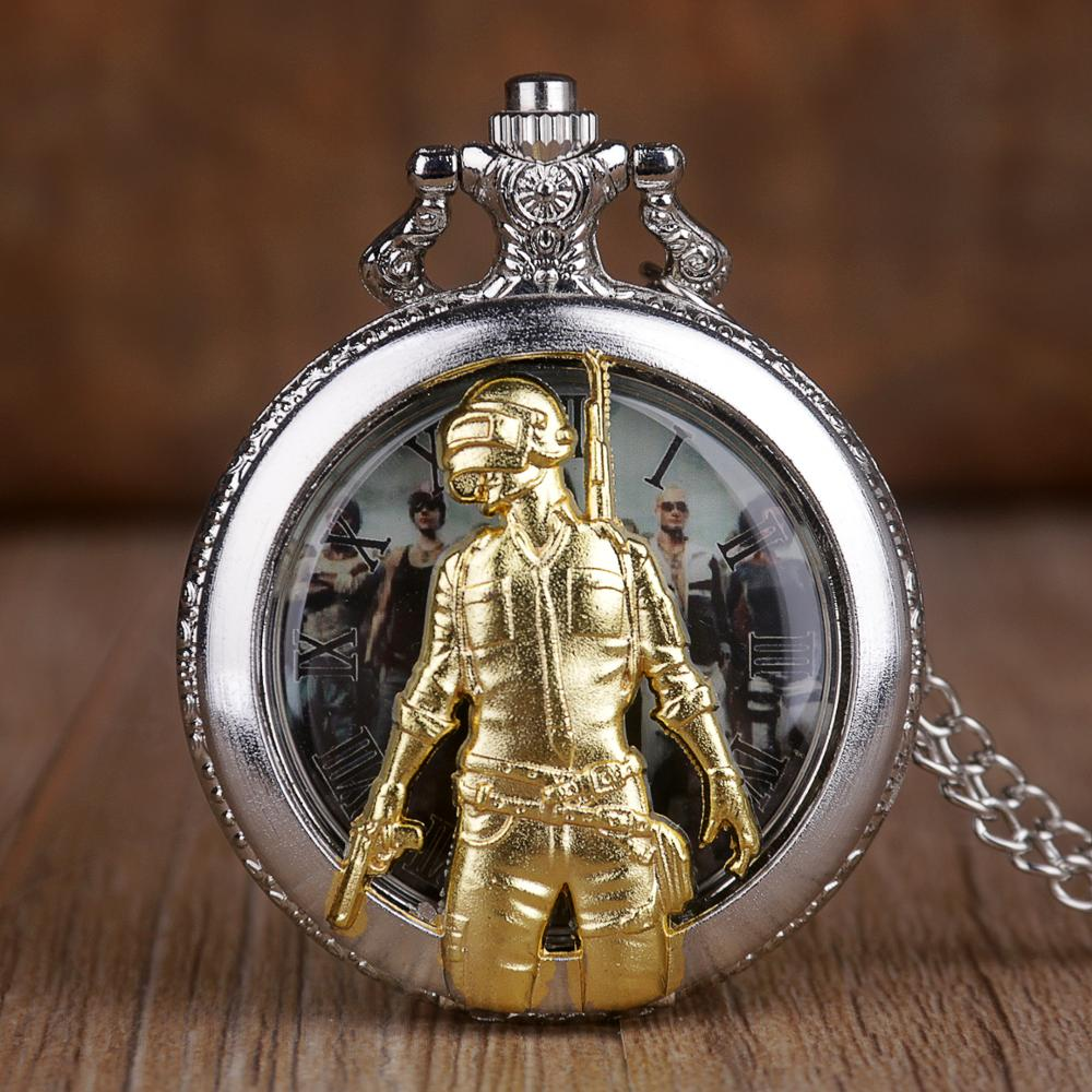 New Game Theme Quartz Pocket Watch 3D Golden Hunter Men Women Pocket Watches Pendant Clock With Necklace Chain Souvenir Gifts