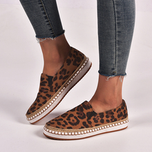 Leopard Print Comfy Flat Casual loafers Slip On Women Espadrilles Sneaker Round Toe Shallow Loafers Fashion Femme mocasines D30