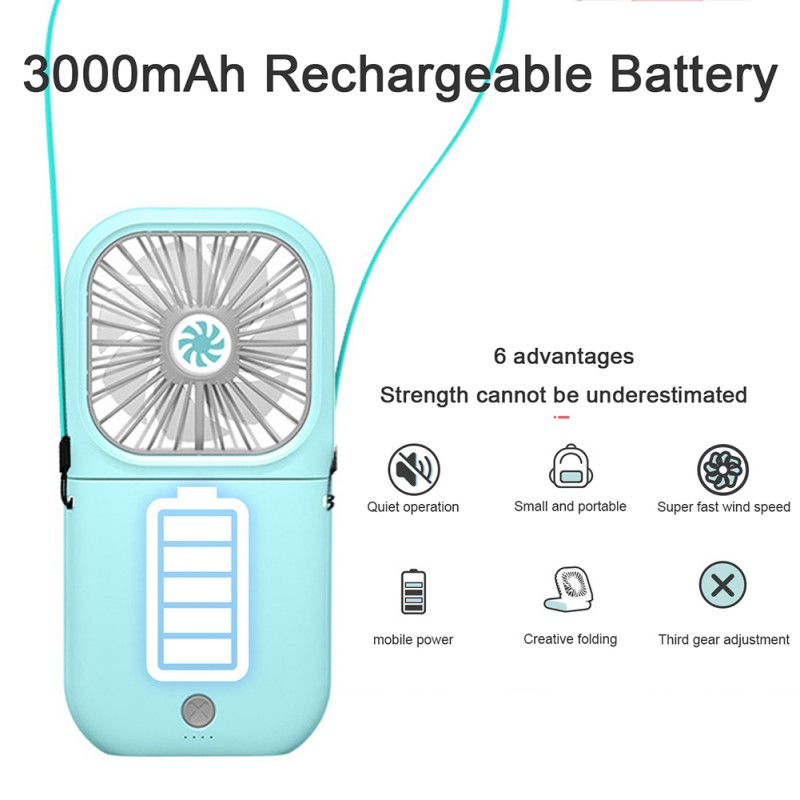Portable USB Cooling Folding Fan Outdoor Sports Travel Neck Hanging Fan 90° Rotating Fan Free Adjustment Battery Recharge