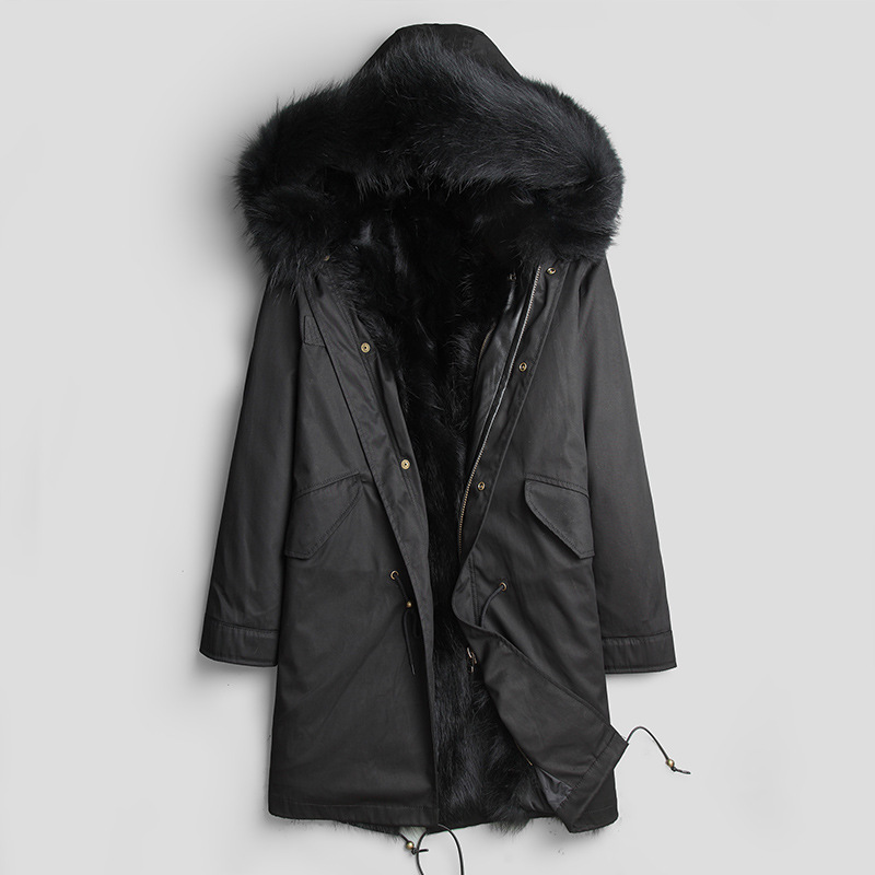 Winter Jacket Men Parka Real Fur Coat Men Warm Raccoon Fur Liner Plus Size Long Jackets Overcoat Parkas Hombre DK1015