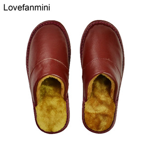 Image 4 - Genuine Cow Leather slippers couple indoor non slip men women home fashion casual shoes PVC soft soles winter 618