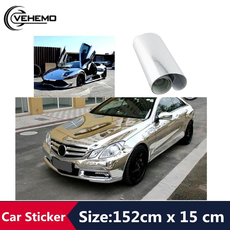 "6/""x60/"" Car Vehicle Chrome Sticker Silver Gloss Foil Vinyl Wrap Film Sheet"