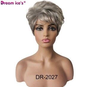 Image 3 - 合成繊維の毛の女性ショートボブストレート高温髪かつら耐熱髪に