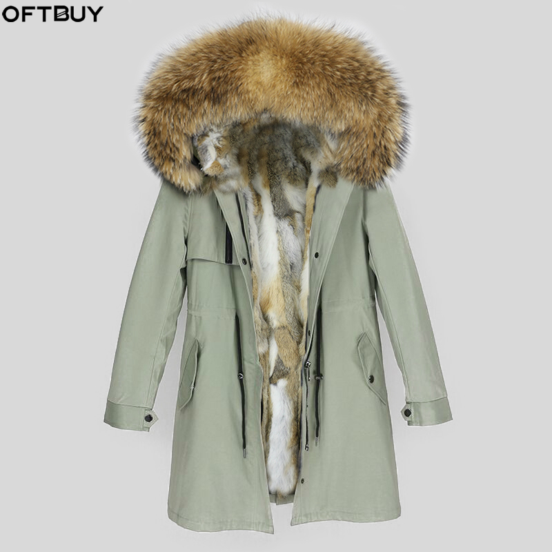 OFTBUY 2019 New Parka Winter Jacket Women Real Fur Coat Natural Raccoon Fur Collar Hood Natural Rabbit Liner Warm Slim Outerwear