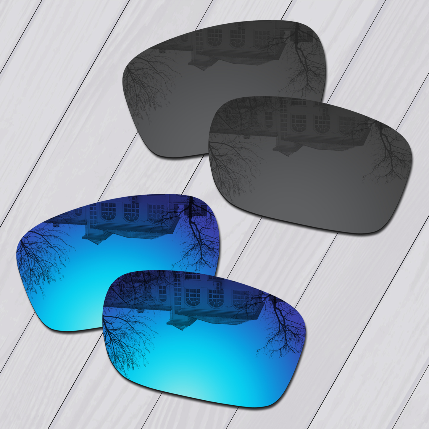 E.O.S 2 Pairs Black & Ice Blue Polarized Replacement Lenses for Oakley Scalpel OO9095 Sunglasses