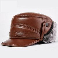 New fashion Men Leather Trapper Hat Baseball Cap Outdoors Hunting Ear Flap Winter Men Women Caps Casual Visor Adjustable
