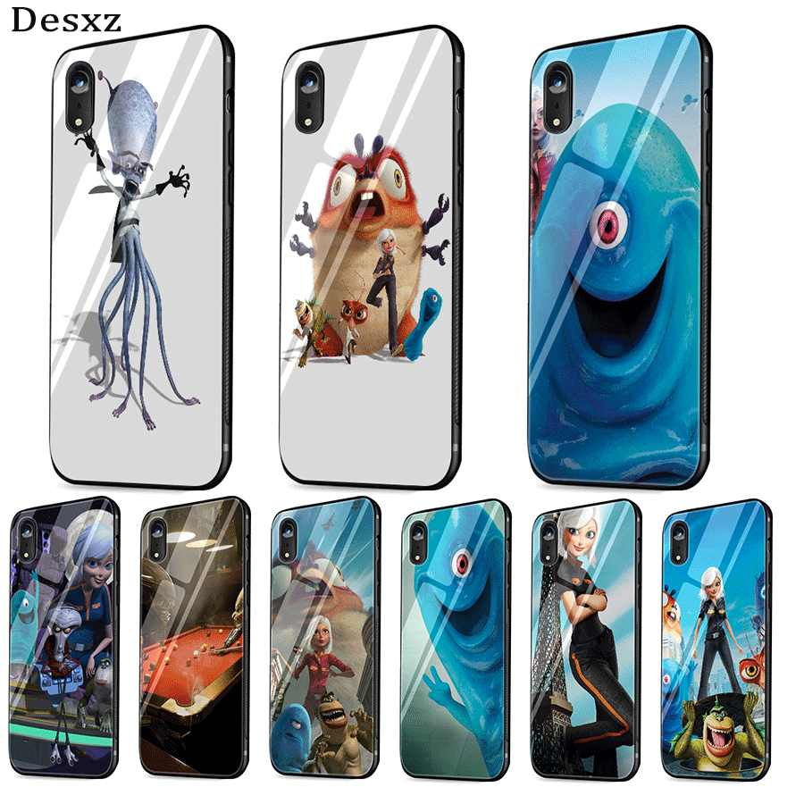 Handy Fall Glas für iPhone Xr X Xs Max iPhone 7 8 6 6s Plus 5 5s SE Abdeckung tpu Monsters vs Aliens