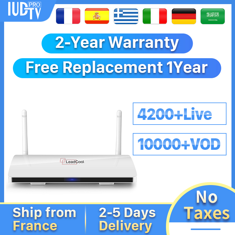 IPTV suède boîte Leadcool Android 8.1 boîte de télévision avec 1 an IUDTV compte IPTV Italia espagne turquie pologne royaume-uni arabe IP TV boîte supérieure