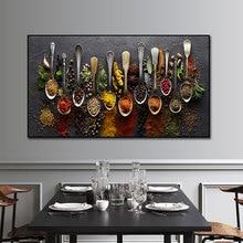 Grãos especiarias colher pimentas pintura da lona cozinha decoração posters impressões para sala de jantar arte da parede fotos decoração casa