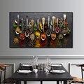 Зерна ложка для специй с головкой в форме перца холст картины Кухня украшения Плакаты принты из фибролитов средей плотности настенные карт...
