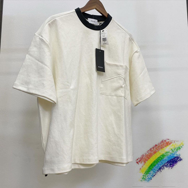 2020ss Rhude T Shirt Men Women 1:1 High Quality Fashion Casual Loose Pocket Rhude T-shirts Top Tees