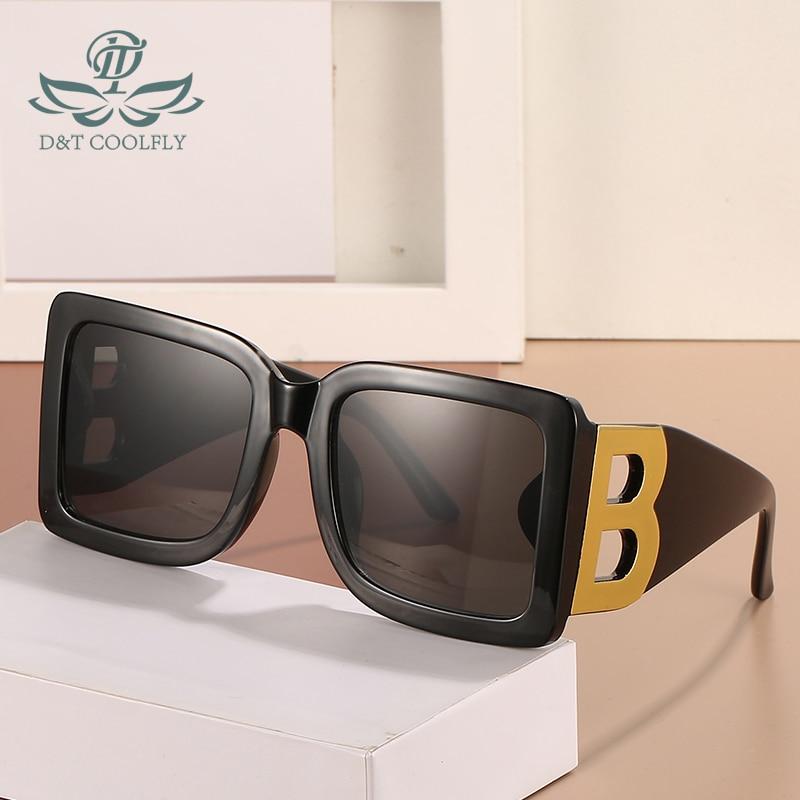 D&T 2021 New Fashion Square Sunglasses Women Men Brand Designer Color Gradient Lens PC Frame Cool B Logo Party Beach Sun Glasses