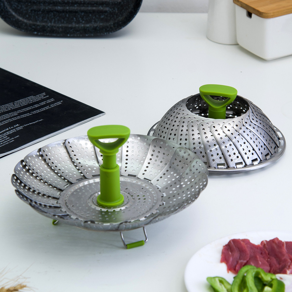 Sowoll Stainless Steel Vegetable Steamer Folding Steaming Basket For Food Dish Vegetable Kitchenware Cooking Tool Steamer