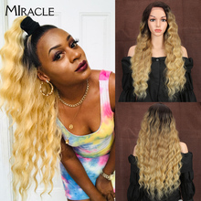 MIRACLE Synthetic Deep Wave Wigs Lace Front Wig Ombre Wigs For Black Women Long Heat Resistant 13*4 Lace Front Wig 150% Density стоимость