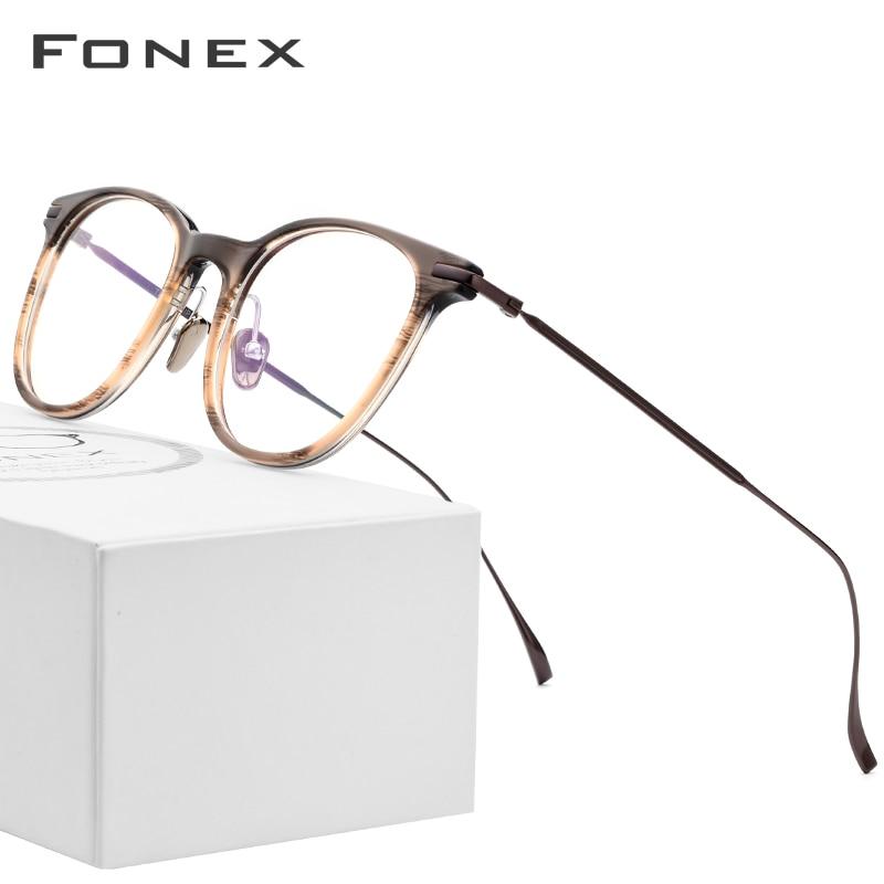 B Pure Titanium Glasses Frame Men Ultralight Acetate Women 2018 New Vintage Round Myopia Optical Prescription
