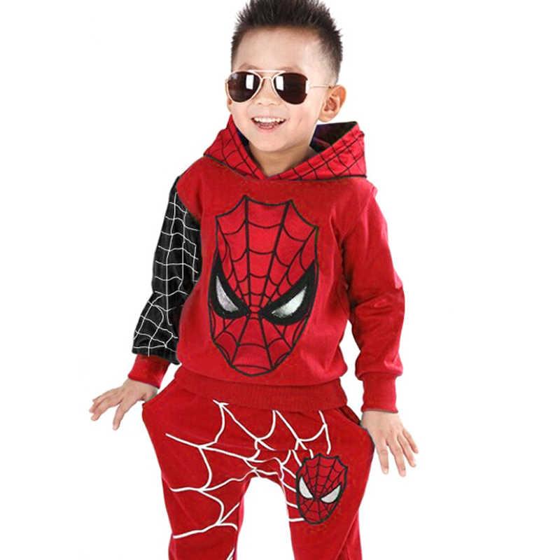 Anak Pakaian 2020 Musim Semi Musim Gugur Balita Anak Laki-laki Pakaian Set Berkerudung Spider-Man Kostum Anak Pakaian untuk Bayi Laki-laki Olahraga suit