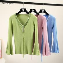 Thin Sweater Womans New Sequin Bead Slim Fit Drawstring V-Neck Knit Shirt Girl Ladies Horn Sleeve Pull Jacket Jumper Feminine