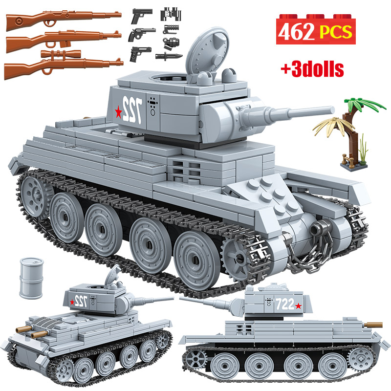 462PCS WW2 War Military Building Blocks Legoingly Tank Soviet Union BT-7L Light Tank Army Soldiers Figures Blocks Toys For Boys