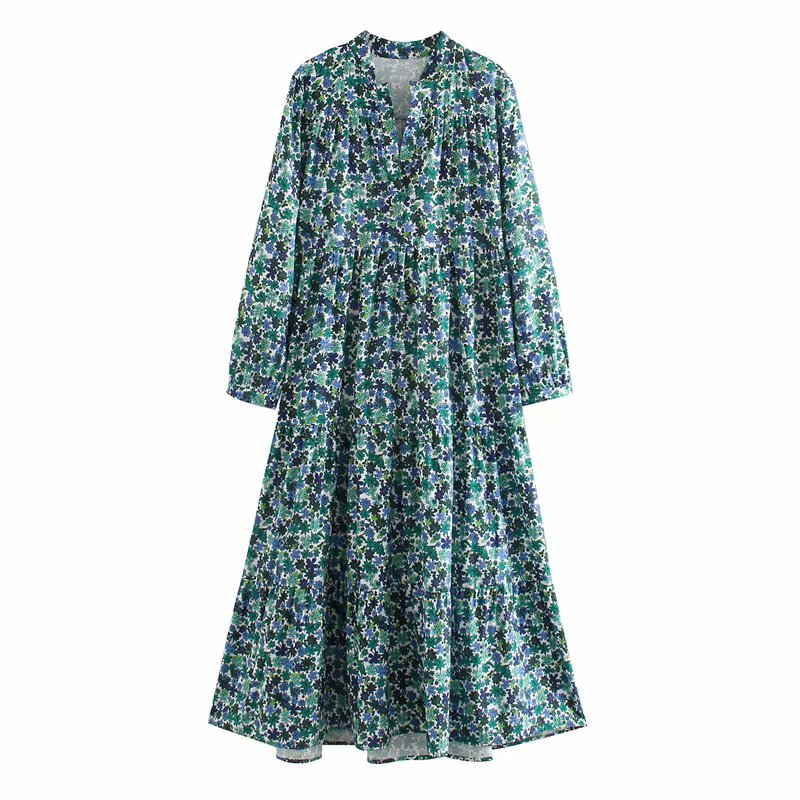 New Women elegant v neck floral vestidos print midi dress Ladies nine quarter sleeve Chic casual loose straight Dresses DS3403