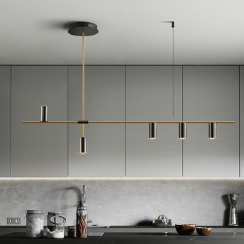 Gold or Black Simple LED Chandelier Modern Kitchen island Long Hanging Light Dining Bar Office Coffee Restaurant Pendant Lamp