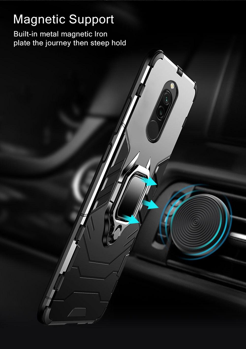 Hae9a8b8595524960ab9f96367040cf94H Armor Case for Redmi 8 8A Case Magnetic Car Phone Holder TPU+PC Bumper Cover on for Xiaomi Redmi 8 8A 8 A Global Version Case
