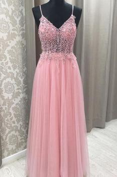 New Fashion Long Prom Dresses 2021 V-Neck Sleeveless Floor Length Beading Tulle Evening Dress платье женское платье женское фото