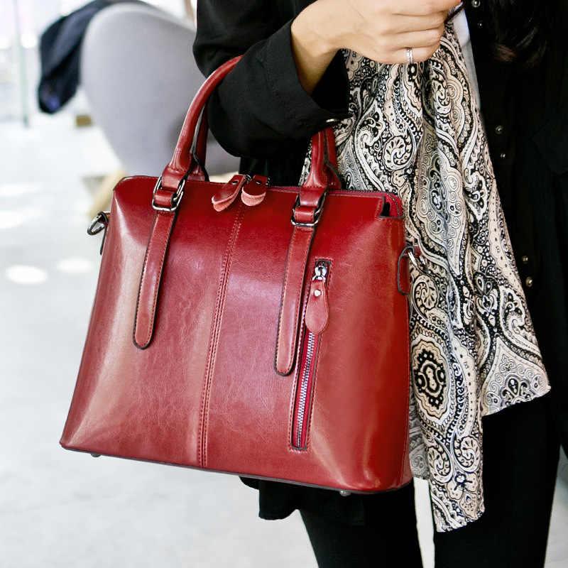 Marque cire huile cuir sac fourre-tout sacs à main femmes en cuir véritable sacs à bandoulière femme vintage décontracté sacs à main dames grand C1180