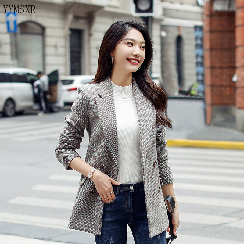 2020 Autumn and winter women's small suit Casual temperament double-breasted checked ladies blazer coat feminine jacket Female