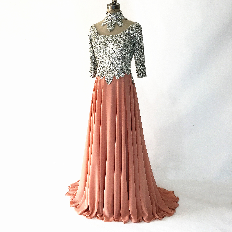 Halter Peach Color Chiffon Prom Dresses 2020 Crystal Beading Appliques Half Sleeves Formal Evening Party Gowns Vestido De Noche