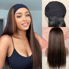 Wigs Headband Gluesless Peruvian Human-Hair Simbeauty Straight for Black Women 180-Density