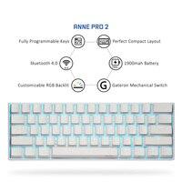 Anne pro2 mini portátil sem fio bluetooth 60% teclado mecânico vermelho azul marrom interruptor de jogo teclado destacável cabo