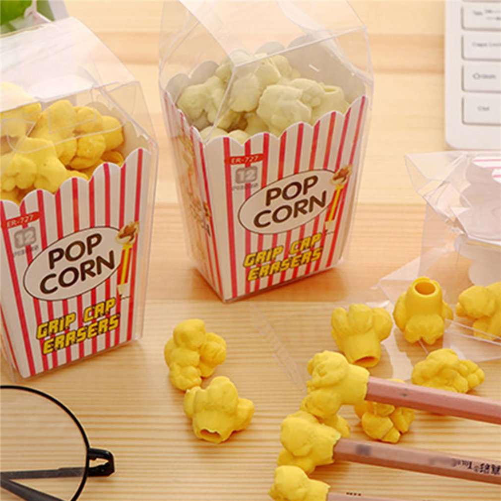 1 Pcs Hot Kawaii Popcorn Boxed Eraser Modeling Erasers School Supplies Sandwich Pink Blue Black Dessert Style Rubber