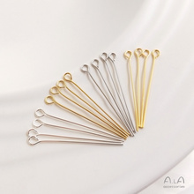 18k14k Silver Color Retention Gilded Accessories 9 Word Needle Bead Threading Needle round Head T Pin DIY Earrings Jewelry