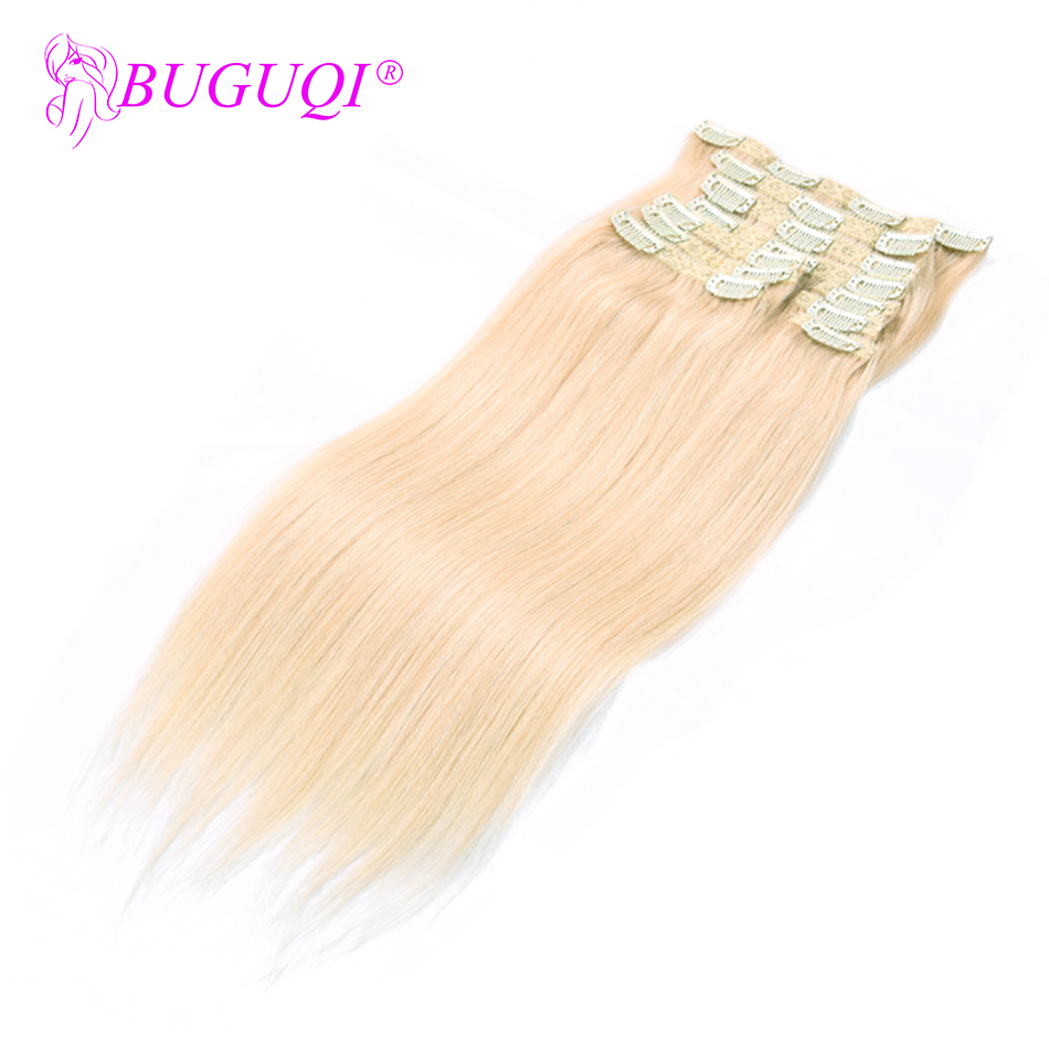 BUGUQI Hair Clip In Human Hair Extensions Mongolian #60 Remy 16- 26 Inch 100g Machine Made Clip Human Hair Extensions