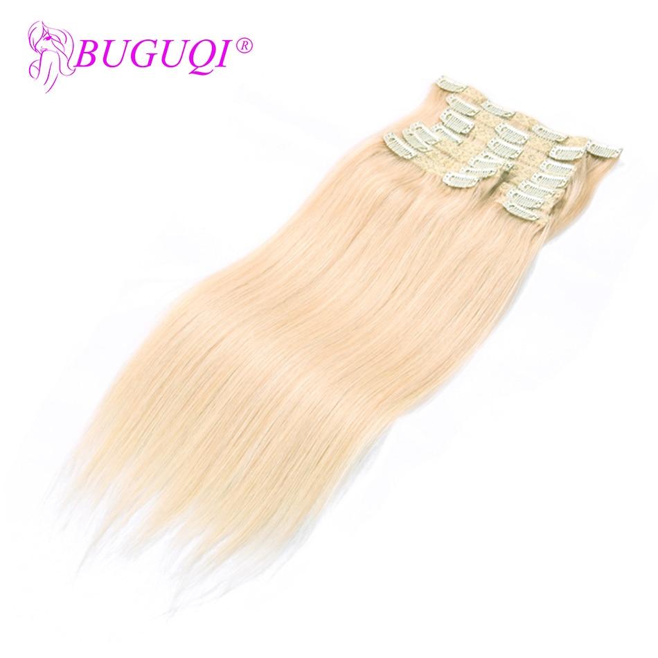 BUGUQI Hair Clip In Human Hair Extensions Mongolian #60 Remy 16- 26 Inch 100g Machine Made Clip Human Hair Extensions