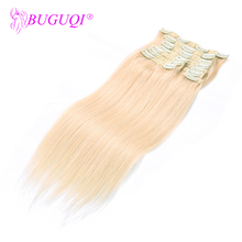 BUGUQI Hair Clip In Human Extensions Mongolian #60 Remy 16- 26 Inch 100g Machine Made