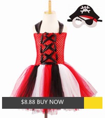 Fancy Girls Halloween Pirate Tutu Dresses Purim Skull Costume Kids Cosplay Party Dress Up Vestidos with Hat Mask (7)_副本